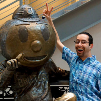 Kevin & Ohio State statue